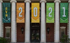 Class of 2021 banners hang from the Waterman building May 19.