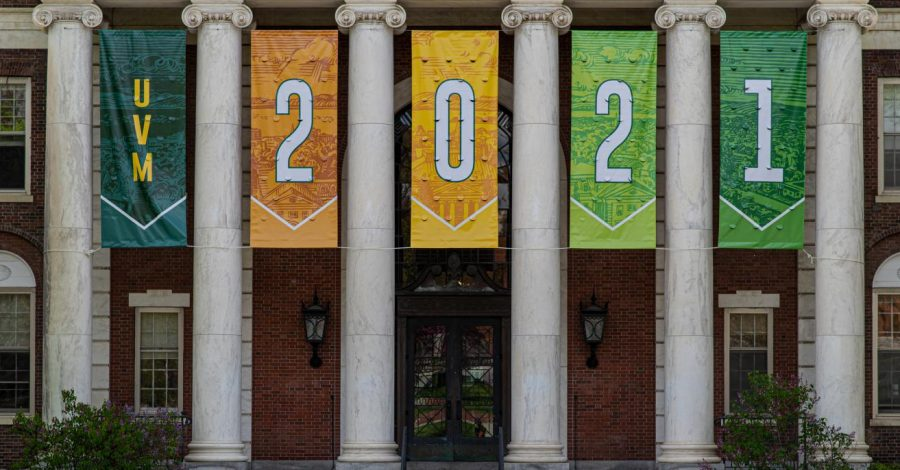 Class+of+2021+banners+hang+from+the+Waterman+building+May+19.
