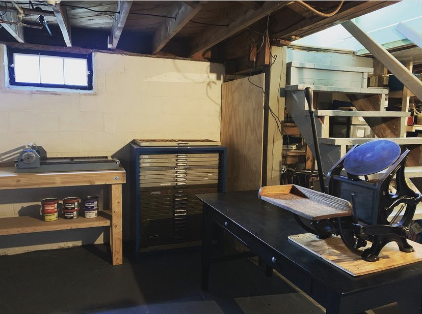 Professor Elizabeth Fenton has a printing press in the basement of her house.