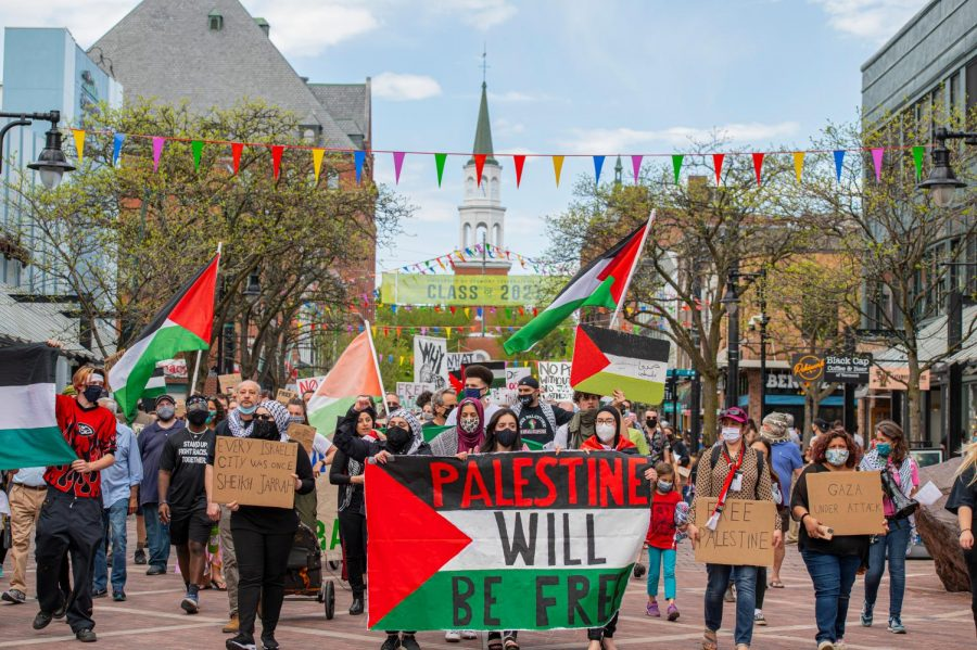 Protestors marched down Church street on their way to City Hall to protest Israel's treatment of Palestine May 15.