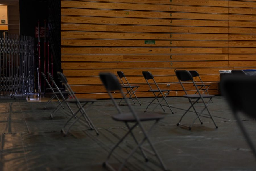 Chairs are set up for students to wait for their vaccine after they check-in May 2.