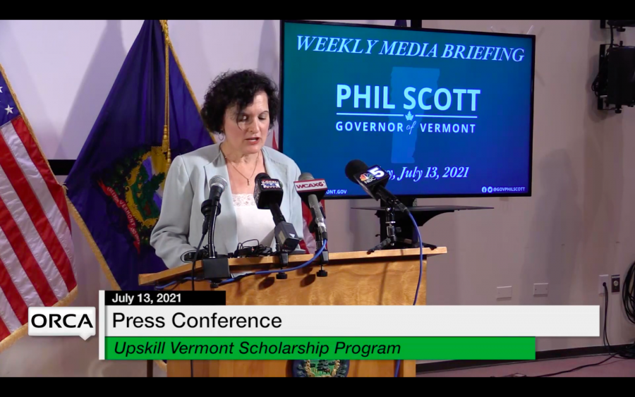 Provost and Senior Vice President Patricia Prelock speaks at Governor Phil Scott's weekly press conference July 13.
