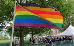 A Philadelphia Pride flag, which represents intersectionality within the LGBTQ+ community and a legacy of activism, flies over Burlington Pride Sept. 5.