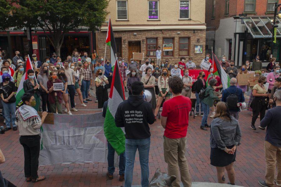 Protestors gather together outside Burlington City Hall Sept. 14.