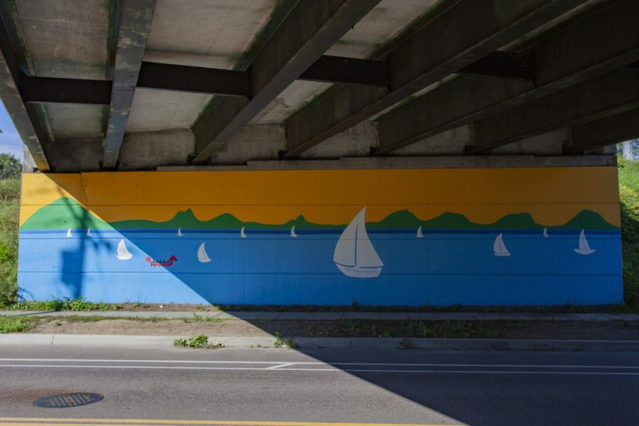 The mural is painted on the corner of Farrell and Swift Street in South Burlington.