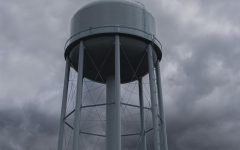 The freshly-painted water tower stands tall Sept. 3.