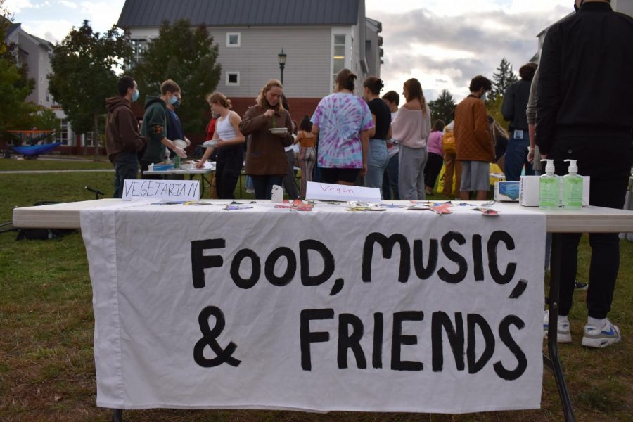 """A banner advertises """"Food, Music, & Friends"""" at CommunityFest Oct. 1."""