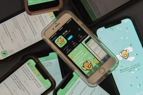 Eight phones sit on a table open to Yik Yak Oct. 3.