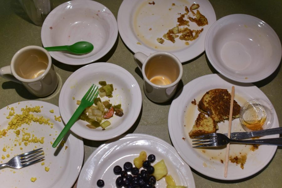 A set of dishes are photographed on a table at Simpson Dining Hall.