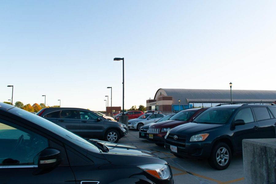 Cars are parked in the Gutterson Parking Garage Oct. 6.