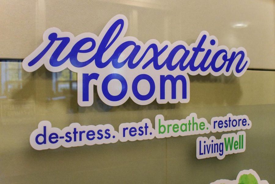 The Living Well office has a relaxation room that provides students with a space to unwind.